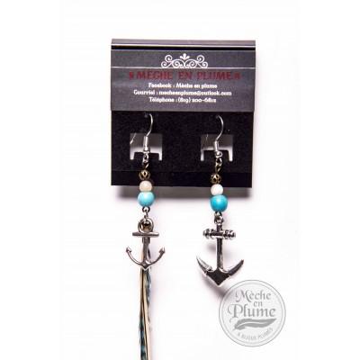 Boucle d'oreille Plumes - Turquoise & Nacre de perle