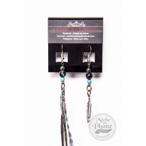 Boucle d'oreille Plumes - Obsidienne - Turquoise - Fossile vert