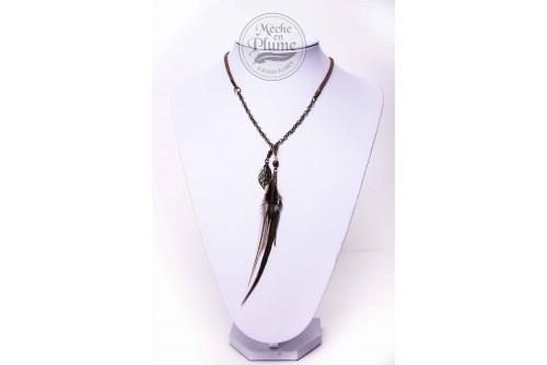 Collier Plume Élégante - Oeil de Tigre & Nacre de perle