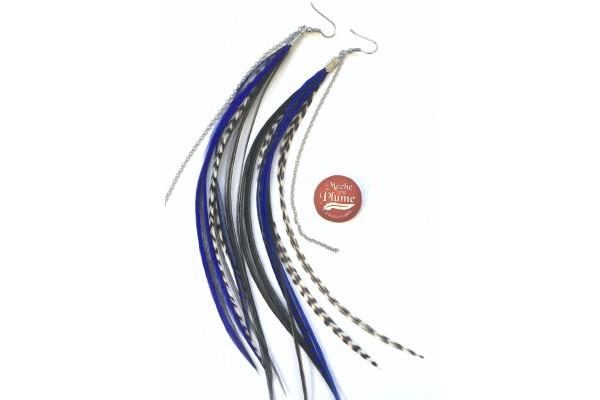 Boucles d'oreilles plumes - Fée Bleu Royal