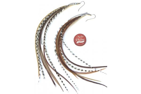 Boucles d'oreilles plumes - Fée Moka