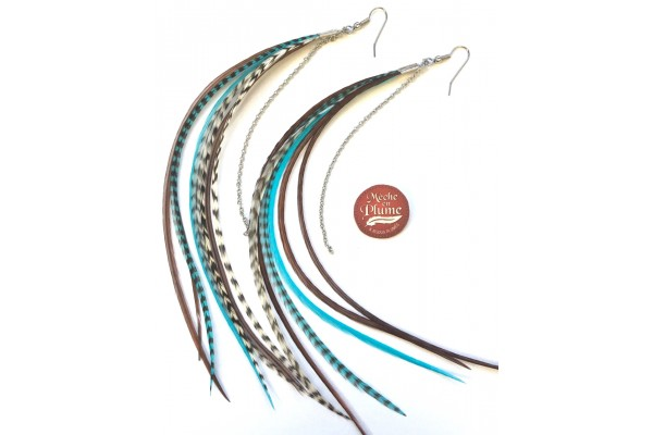 Feather Earrings - Turquoise Fairy