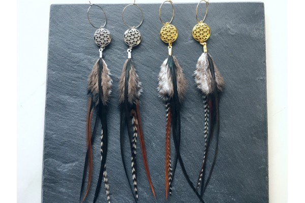 Feather Earrings and Flower of Life - Gold