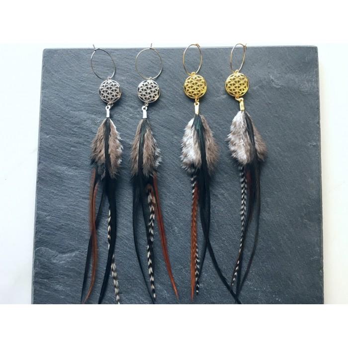 Boucles d'oreilles plumes et fleur de vie or