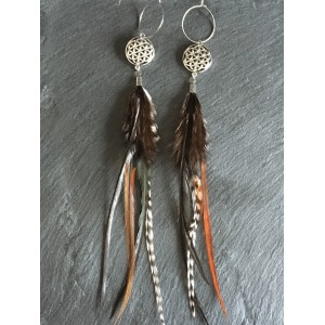 Feather Earrings and Flower of Life