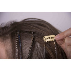 Extension de Plumes Double - Clip Barrette  - Rose Bonbon