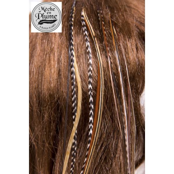 Plumes pour cheveux blonde et grizzly queue de lynx - Plume dans les cheveux ...