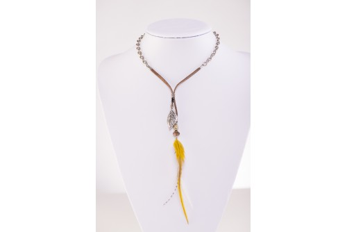 Collier Plume Sauvage - Plumes Jaune