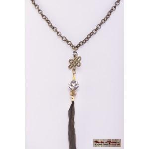 Collier Plume Élégante - Breloque Tribal