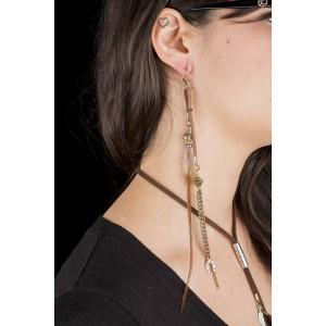Boucle d'oreille Plumes - Quartz - Goldstone