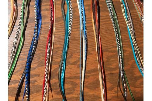 Isabelle Pottier / Custom feathers order / 10 extensions de 4 Plumes XXL avec micro bille / Colorful / Quantité limité